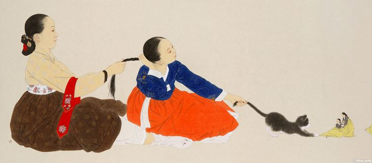 Pictures that are painted using a Traditional Korean technique by Shin sunmi.