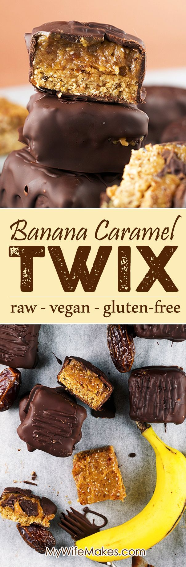 Homemade Raw Vegan Twix Bars with Banana Date Caramel. Crisp chocolate coating with a sweet and gooey Banana Caramel center.