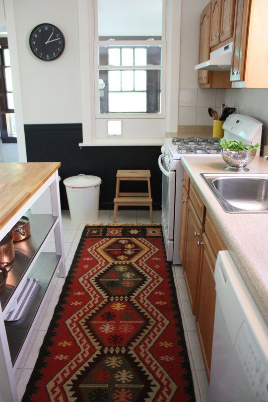 Rental Kitchen With a Few Smart, Stylish Solutions  The Kitchn (Half painted walls with color on the bottom, patterned rug, island storage and decor)