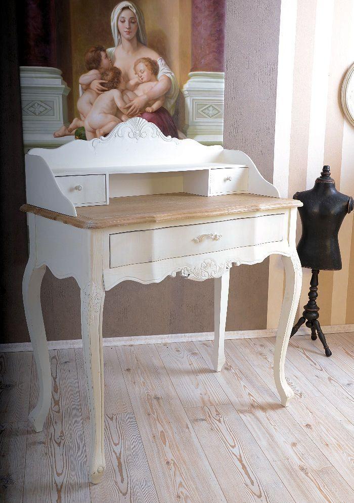 shabby chic schreibtisch sekret r schminktisch weiss. Black Bedroom Furniture Sets. Home Design Ideas