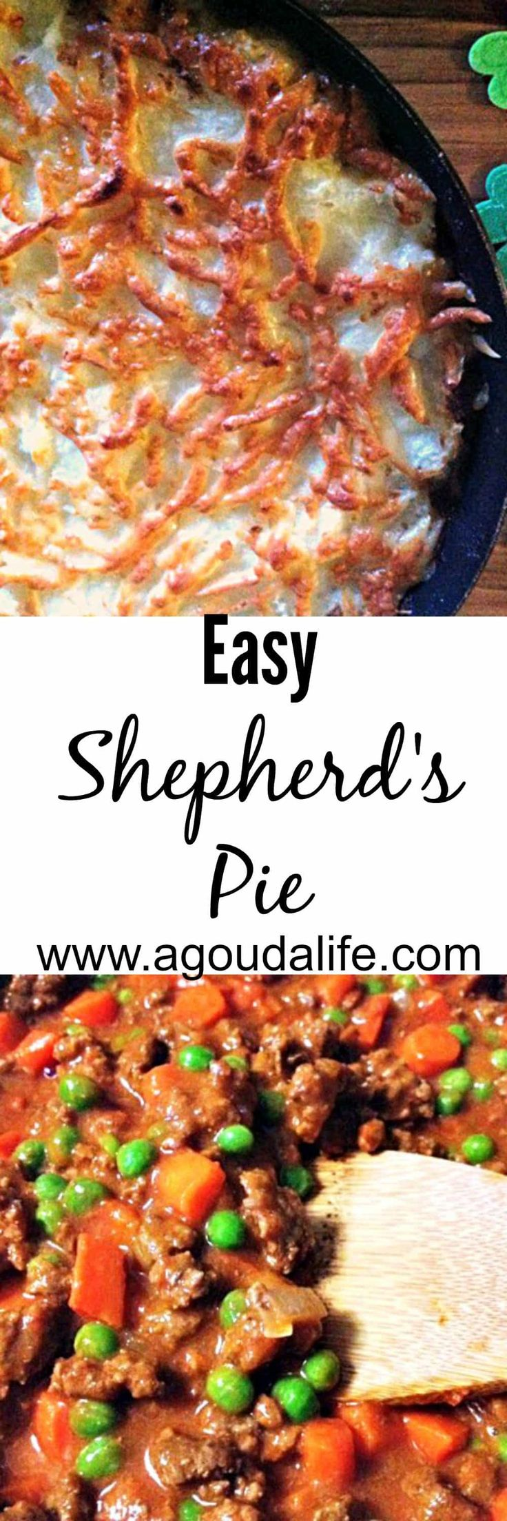 Easy Shepherd's Pie - a great one-pot meal - beef and vegetables in a tasty sauce topped with mashed potatoes and Gruyere cheese.
