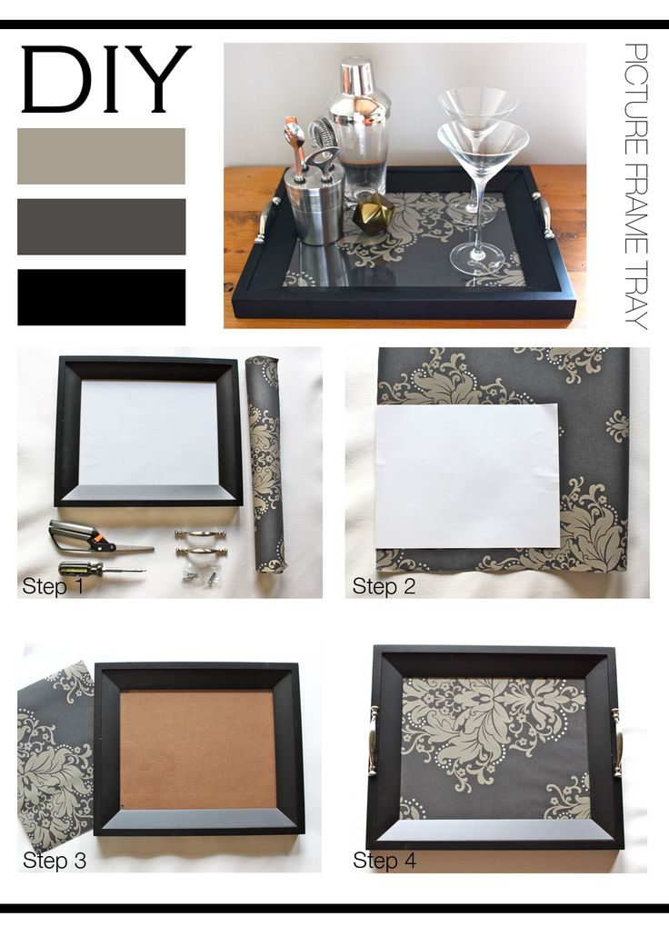 DIY : Picture Frame Tray A simple DIY to create a chic tray to store all of your pretty things. The options for this DIY are endless, from a modern tray using a square edge picture frame and...
