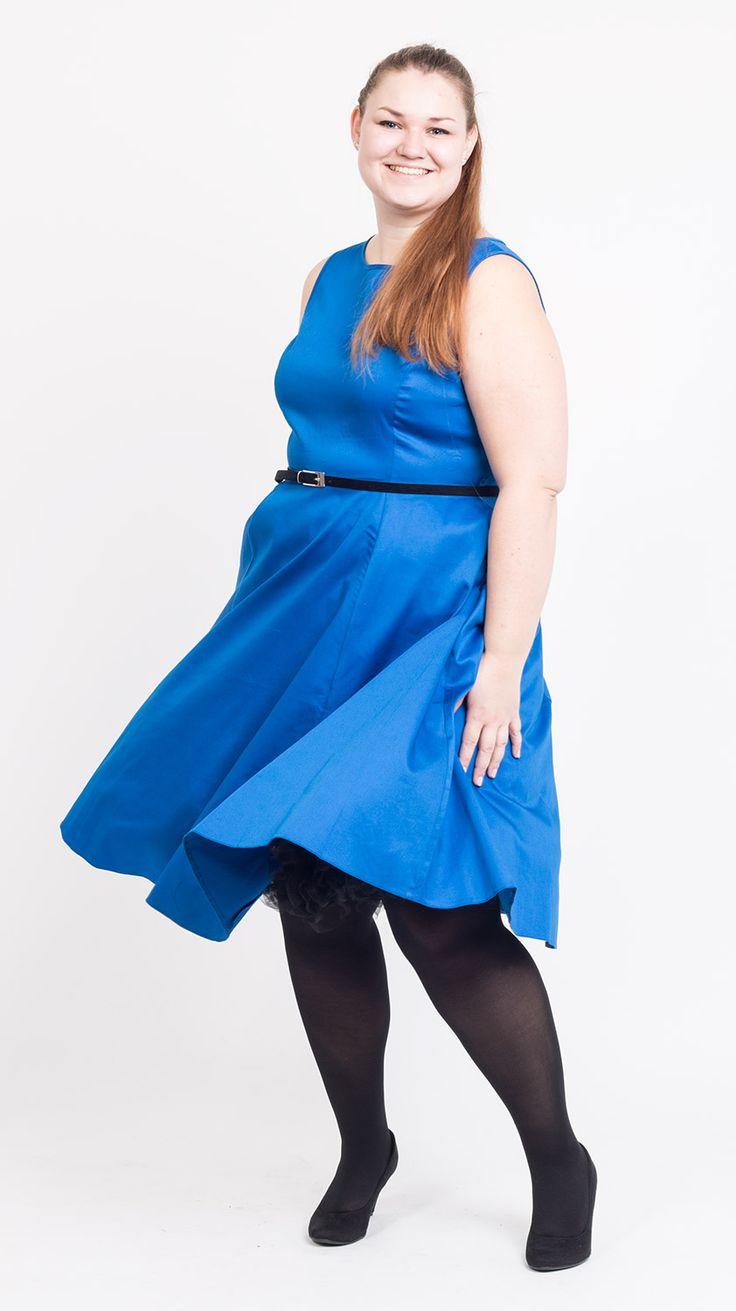 Mega fede Blank Kongeblå Kjole 50 Modetøj til Damer i luksus kvalitet