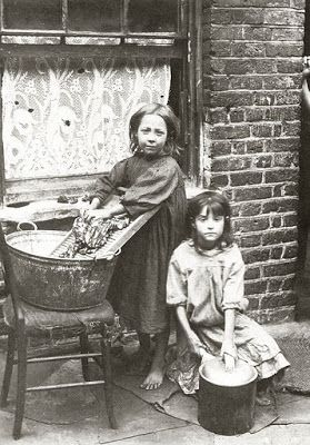 Chapter 3: Poverty looks grim to grown people; still more so to children: they have not much idea of industrious, working, respectable poverty; they think of the word only as connected with ragged clothes, scanty food, fireless grates, rude manners, and debasing vices: poverty for me was synonymous with degradation.  East End Children, turn of 20th c. London.  from Daily Mail.