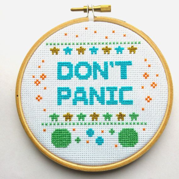 Don't Panic 'Hitchhikers' Finished 4 Cross Stitch by PyroDogPins