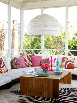 The light, the pillows, the outside- love!Decor, Coffe Tables, Sunrooms, Colors Wheels, Design Bedrooms, Throw Pillows, Outdoor Spaces, Bright Colours, Bright Colors