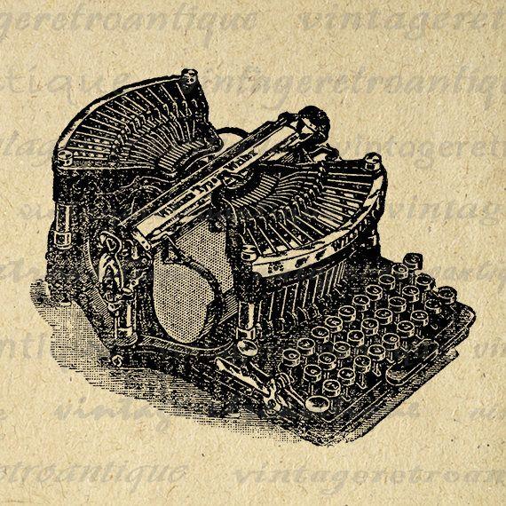 Digital Graphic Old Fashioned Typewriter Image Printable