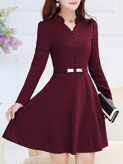 V Neck Decorative Buttons Plain Skater Dress