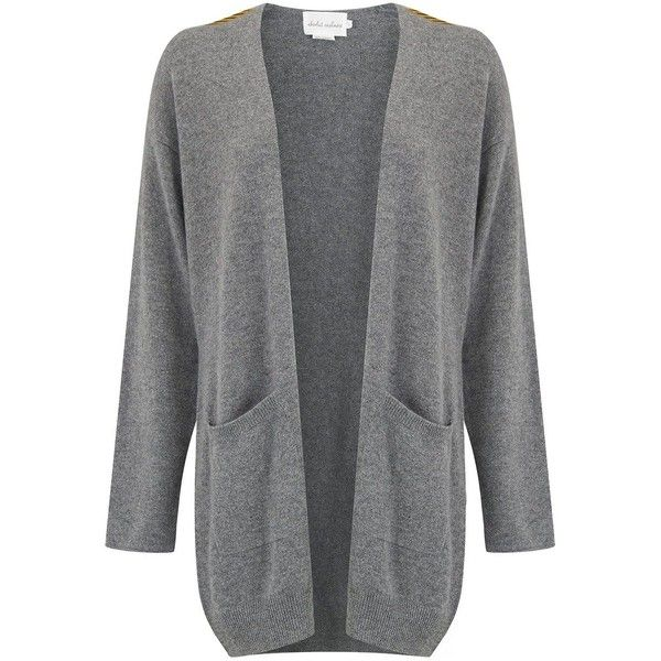ABSOLUT CASHMERE Military Badge Cardigan - Grey ($265) ❤ liked on Polyvore featuring tops, cardigans, grey, grey cashmere cardigan, military cardigan, gray cardigan, grey top and roll top