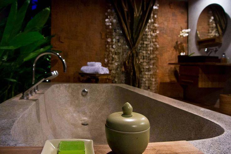 Bali Villa Photography - Komea Villas - bathroom tub at dusk
