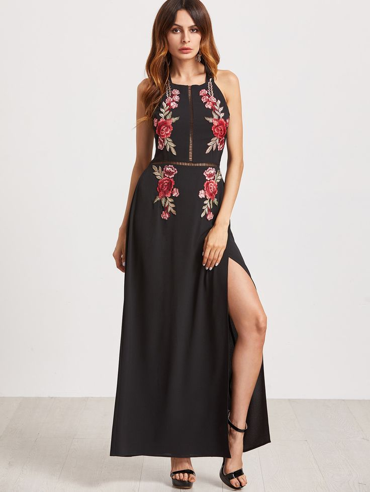 Wearing Sexy Floral Embroidered Backless Slit Hem Halter Women Maxi Dress  becomes more charming, buy Sexy Floral Embroidered Backless Slit Hem Halter  Women ...