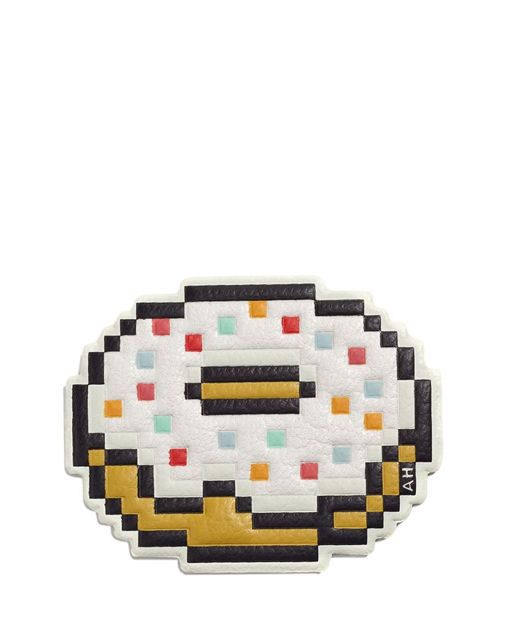 "Anya Hindmarch pixelated leather doughnut sticker. Permanent, self-adhesive pull-off back. AH logo detail. Approx. 1.9""H x 2.4""W. Imported."