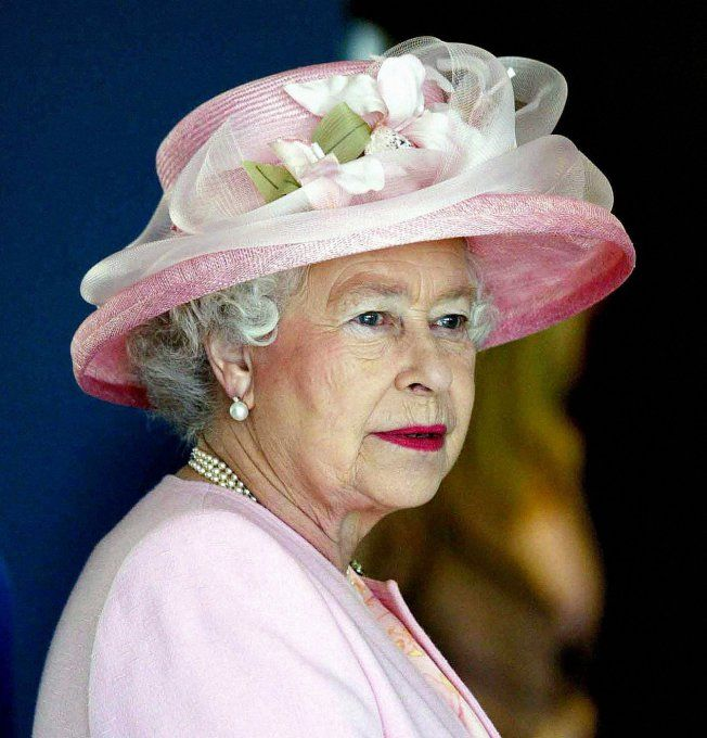 La Reine Elisabeth II en rose. Had to save this beautiful pic of QEII. Cousine once removed from King Harald of Norway
