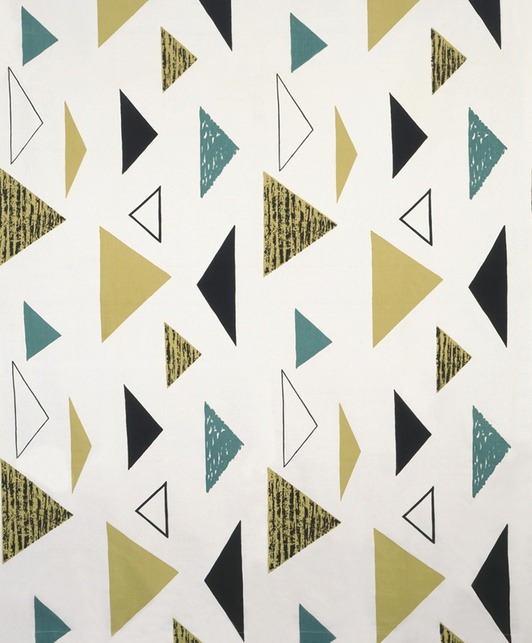"For curtains: Lucienne Day textile, ""Isosceles"" 1955"
