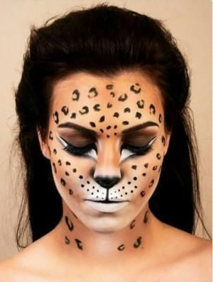 Amazing animal makeup looks that you can easily rock this Halloween . - Amazing Animal Makeup Looks You Can Easily Rock This Halloween – Cheetah Print – Amazing Animal - Halloween Make Up, Halloween Face Makeup, Halloween Photos, Halloween Ideas, Leopard Halloween Makeup, Scary Halloween, Cat Faces For Halloween, Awesome Halloween Makeup, Kids Halloween Face Paint