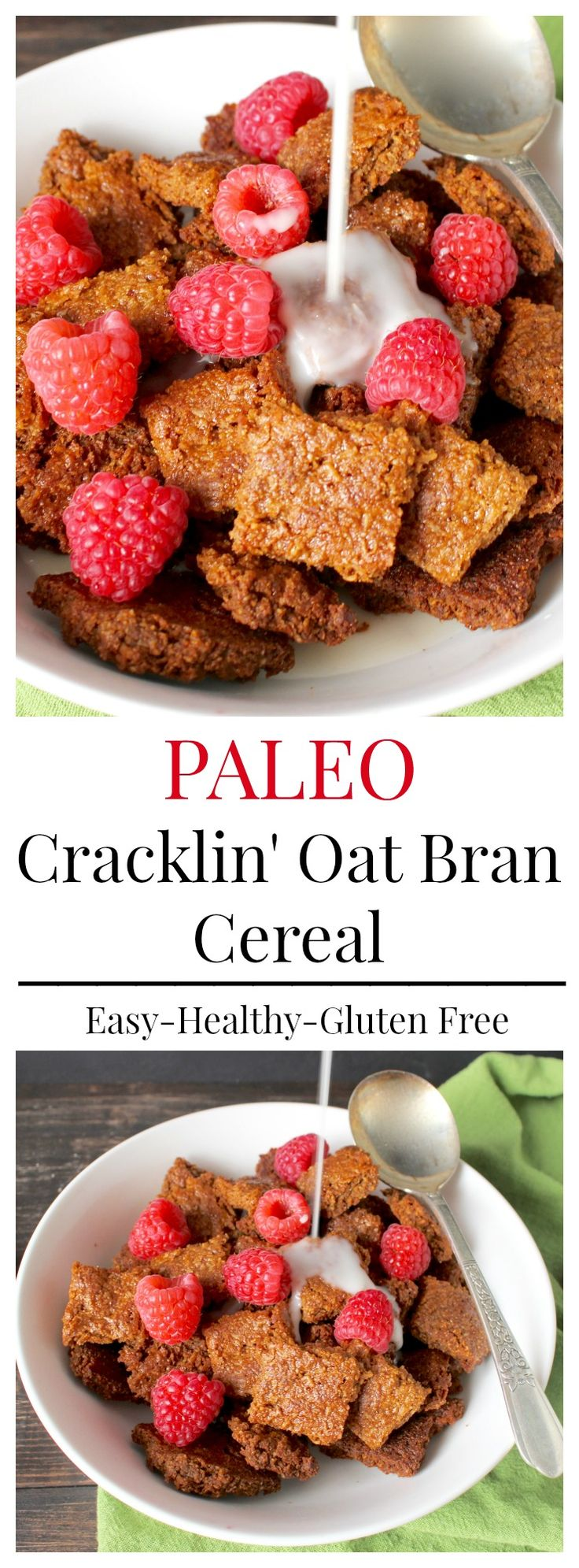 Paleo Cracklin Oat Bran- a healthy, gluten free version of the popular cereal. So easy and so delicious! Dairy free, grain free.