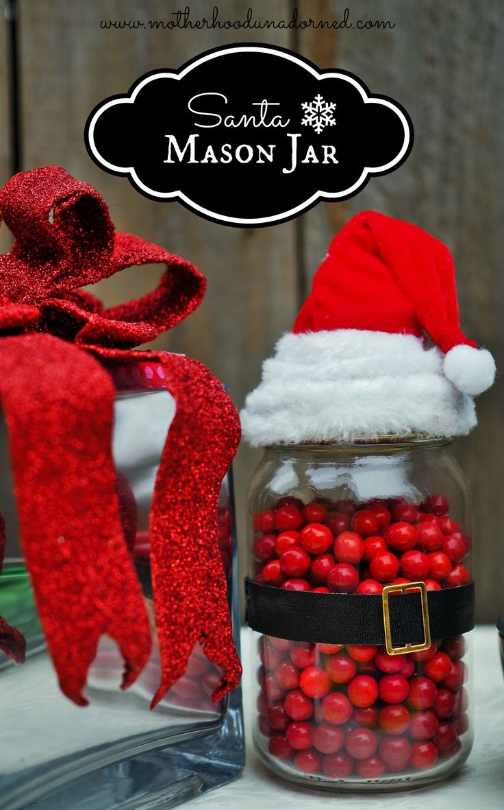 This is just darling santa candy mason jar craft such a for Cute mason jar christmas gift ideas
