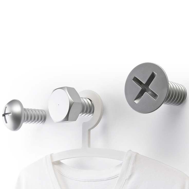 Fab.com | Screw Hook Silver Set Of 3 these would be cool hooks for Chan's room