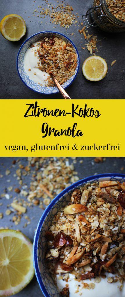 Sommerliches Zitronen-Kokos Granola - vegan, glutenfrei, sojafrei & zuckerfrei - gesunde Frühstücks-Ideen | Einfach grünlich
