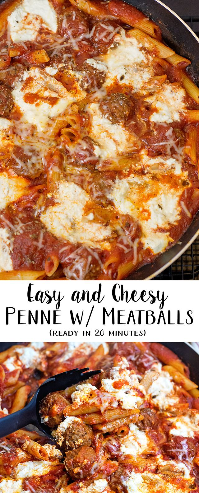Cheesy Penne with Meatballs Recipe (20 Minute Meal)