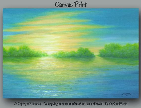 Sunrise Canvas Art Print For Green Teal Yellow Blue Home Decor By Denise