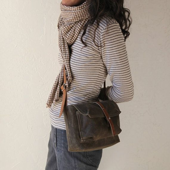 waxed canvas bag, by infusion. also love the subtle mix of pattern/colour.