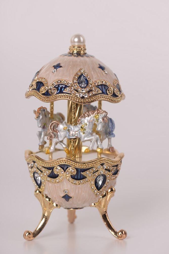 Easter Egg with Horse Carousel Trinket Box by Keren Kopal music box