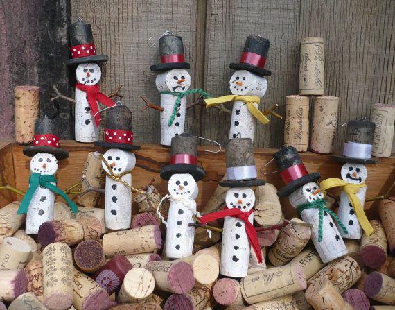 muñecos de nieve de corchos de vino
