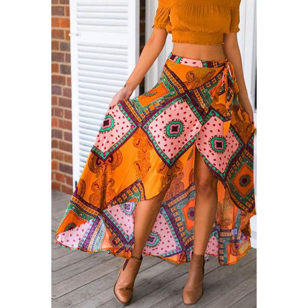 Yellow Tribal Print Asymmetrical Vintage Maxi Skirt (27 AUD) ❤ liked on Polyvore featuring skirts, vintage high waisted skirts, high waisted maxi skirt, high-waisted maxi skirt, long high waisted maxi skirts and tribal maxi skirt