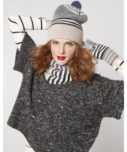 AW12 Strontian Striped beanie and glove set by eLUXE
