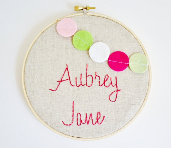custom name embroidery hoop-baby girl gift / room art-confetti garland by clementine jayne on etsy. $35.00, via Etsy.