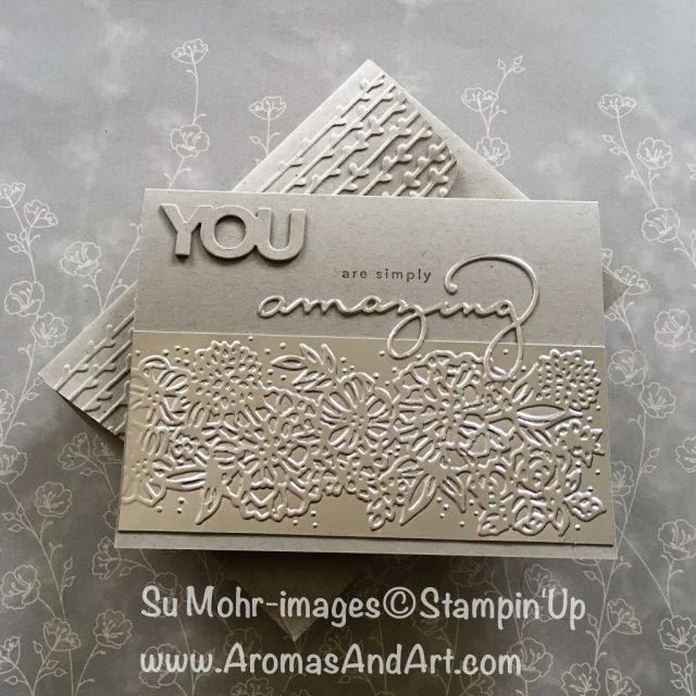 Amazing You, Celebrate You Thinlits, Champagne Foil, Petal Pair EF (Crumb Cake cardstock & Chocolate Chip ink) - GDP127