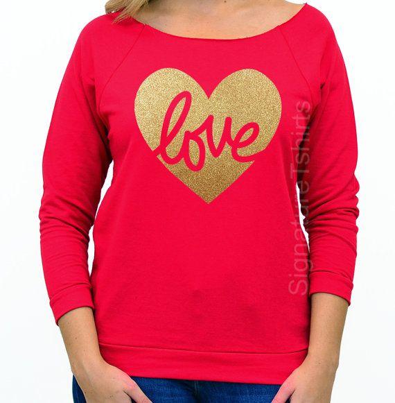 Valentines Day Shirt Womens Off Shoulder Love By Signaturetshirts