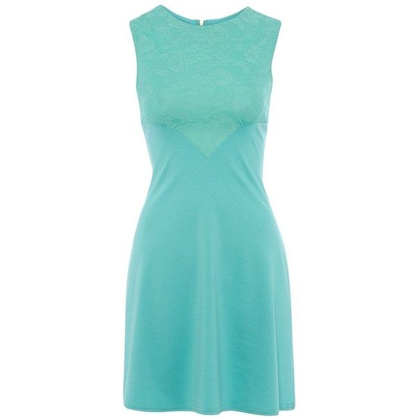 Closet Mint Green Lace Panel Dress ($45) ❤ liked on Polyvore featuring dresses, vestidos, party dresses, cocktail party dress, pastel cocktail dress, night out dresses and mint dresses