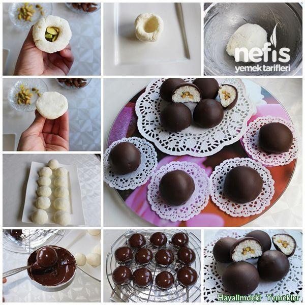 farklı bir tarif denemek isteyenler için; Çikolata Kaplı Hindistan Cevizi Topları
