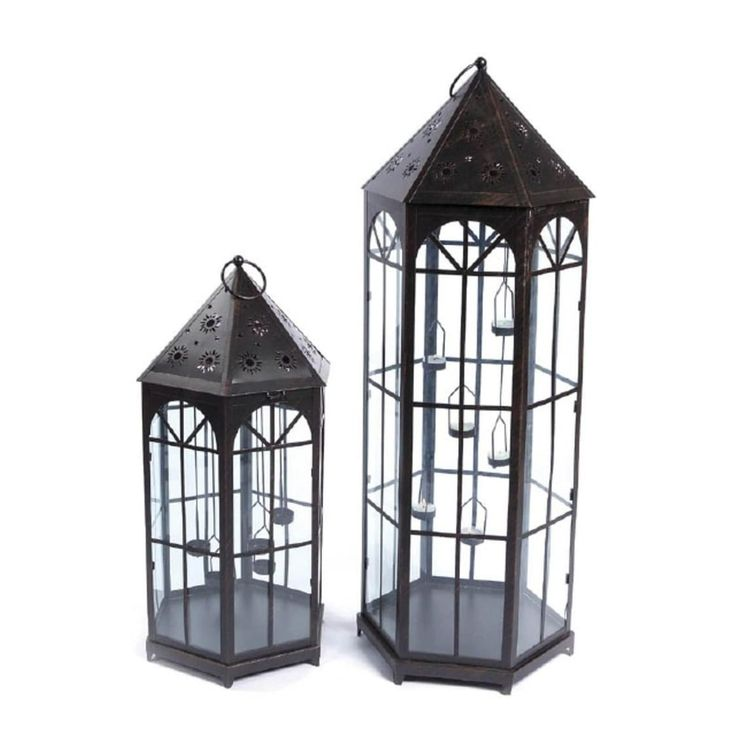 Set of 2 Black Sun and Stars Cut Out Decorative Glass Tea Light Candle Lanterns