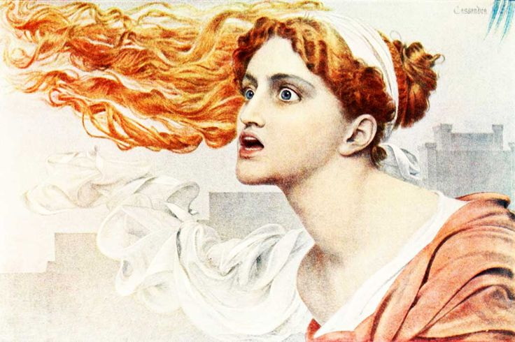 "Cassandra was described as the ""second most beautiful woman in the world.""  Her beauty caused Apollo to grant her the gift of prophecy. When Cassandra refused Apollo's attempted seduction, he placed a curse on her so that her predictions and those of all her descendants would not be believed. (Painting by Frederick Sandys 1829-1904)Art Gallery, Sandy English18291904Cassandra, Augustus Sandy, Art Frederick, Anthony Frederick, Frederick Augustus, Frederick Sandy, British Art, Art Wall"