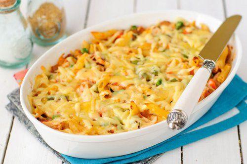 Macarrones+gratinados+con+calabaza,+pollo+y+queso