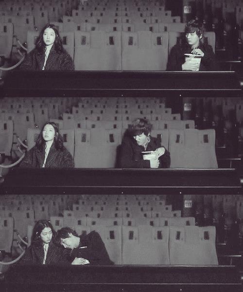 Flower Boy Next Door, Go Dok Mi & Que Geum cute movie theatre scene.