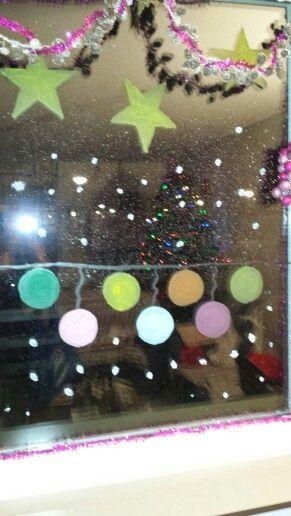 Raam schildering kerst