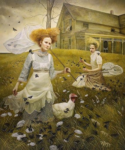 Andrea Kowch -- a la Andrew Wyeth.  Transparent fabric is so difficult paint.  This is so skillfully done.  A subject that could very easily come across as cliche and kitschy is handled in such a way that it feels fresh and thoughtful.