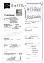 English teaching worksheets: Wonderwall