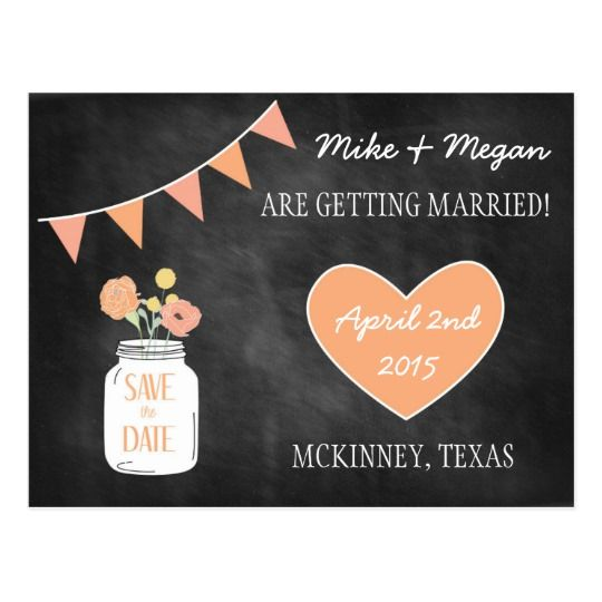 Chalkboard Save the Date- Mason Jar Invite Postcard. Click through to find matching games, favors, thank you cards, inserts, decor, and more.  Or shop our 1000+ designs for all of life's journeys. Weddings, birthdays, new babies, anniversaries, and more. Only at Aesthetic Journeys