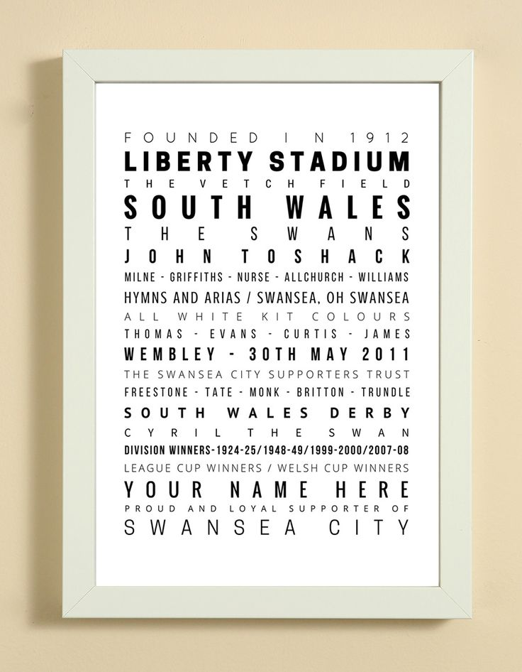 Swansea+City+Football+Club+Word+Art+Design+Print+-+Words,+Names+And+Facts+Associated+With+Swansea+City+FC+-+In+White+Or+Black+A4+Box+Frame, £18.99