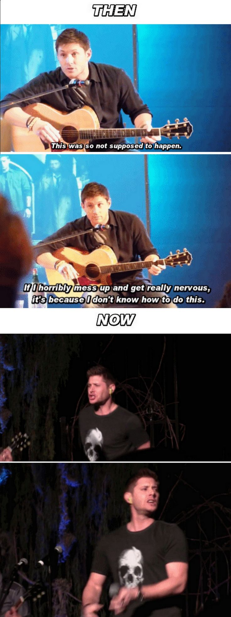 [GIFSET] Jensen performing at conventions Then and Now. It's great seeing how much more confident he's gotten over the years.