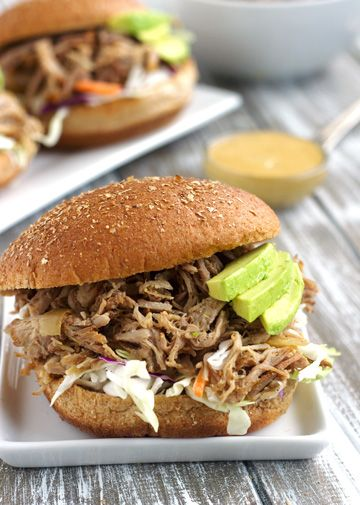 Crockpot Chipotle Pulled Pork Sandwiches With Avocado Ranch Sauce