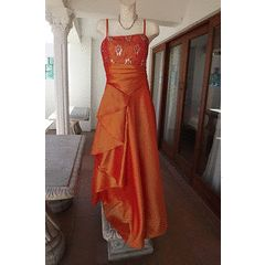 Eyecatching Orange Satin Formal Evening Dress in size 16/40-worn once to matric farewell-Scarf incl for R195.00