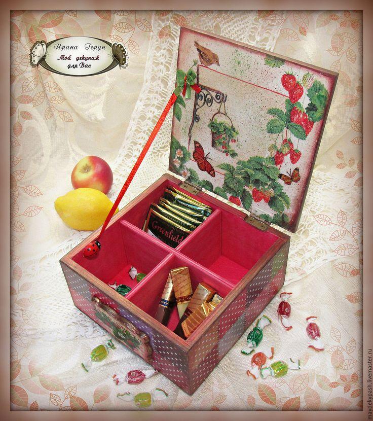"Чайная шкатулка ""Аромат лета"" - комбинированный, шкатулка для чая, шкатулка декупаж, короб для кухни Tea houses and boxes handmade"