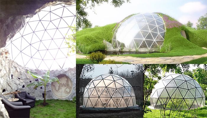 www.biodomes.eu  Custom Glass Geodesic Domes - Earth sheltered sustainable homes