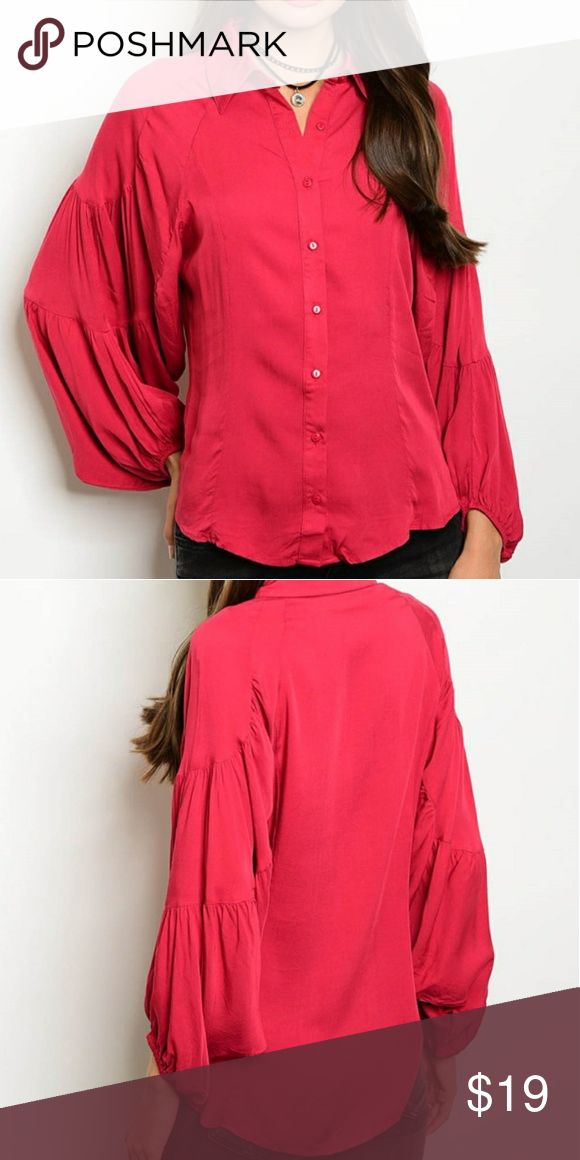 ☀ Cranberry Wide Sleeves Holiday Christmas Blouse 100% rayon. Collar, button down,  perfect for the holidays coming up. Pair with pearls and slacks or wear simple with jeans and boots. Tops Blouses
